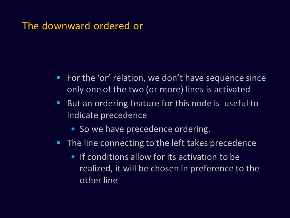 The downward ordered or  For the 'or' relation, we don't have sequence since only one of the two (or more) lines is activated  But an ordering feature for this node is useful to indicate precedence So we have precedence ordering.