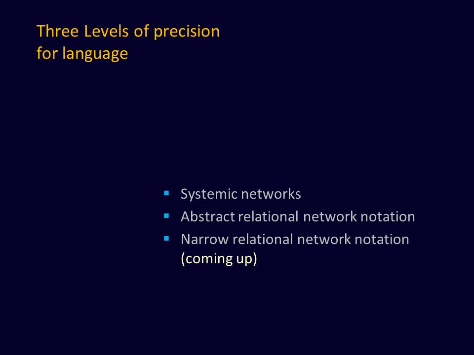 Three Levels of precision for language  Systemic networks  Abstract relational network notation  Narrow relational network notation (coming up)