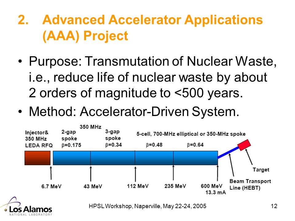 HPSL Workshop, Naperville, May 22-24, 200512 2.Advanced Accelerator Applications (AAA) Project Purpose: Transmutation of Nuclear Waste, i.e., reduce l