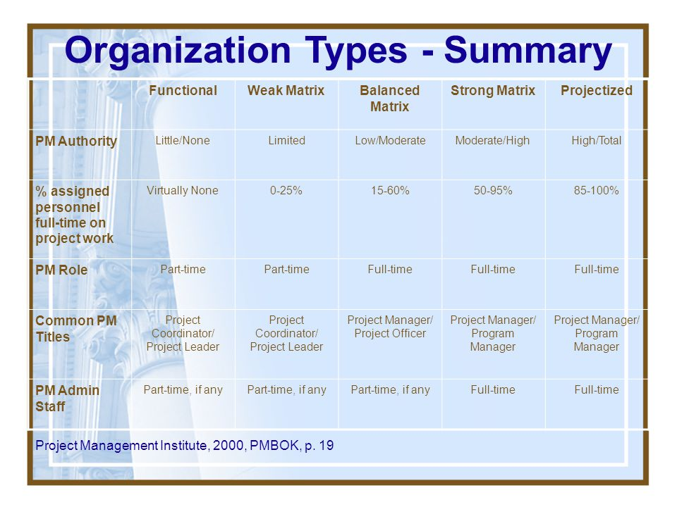 Project Management Office (PMO) –Not very standard in objective/work –May be responsible for providing support functions (project coordination, other