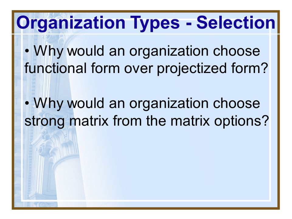 "Organization types typically evolve, rather than get ""selected"" Some factors influencing the evolution 1.Technology 2.Finance and accounting 3.Communi"