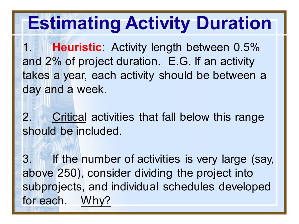 "Estimating Activity Duration THE WORK: Tim shall walk across the room, turning off the projector along the way, & then write ""The Instructor Is Only A"
