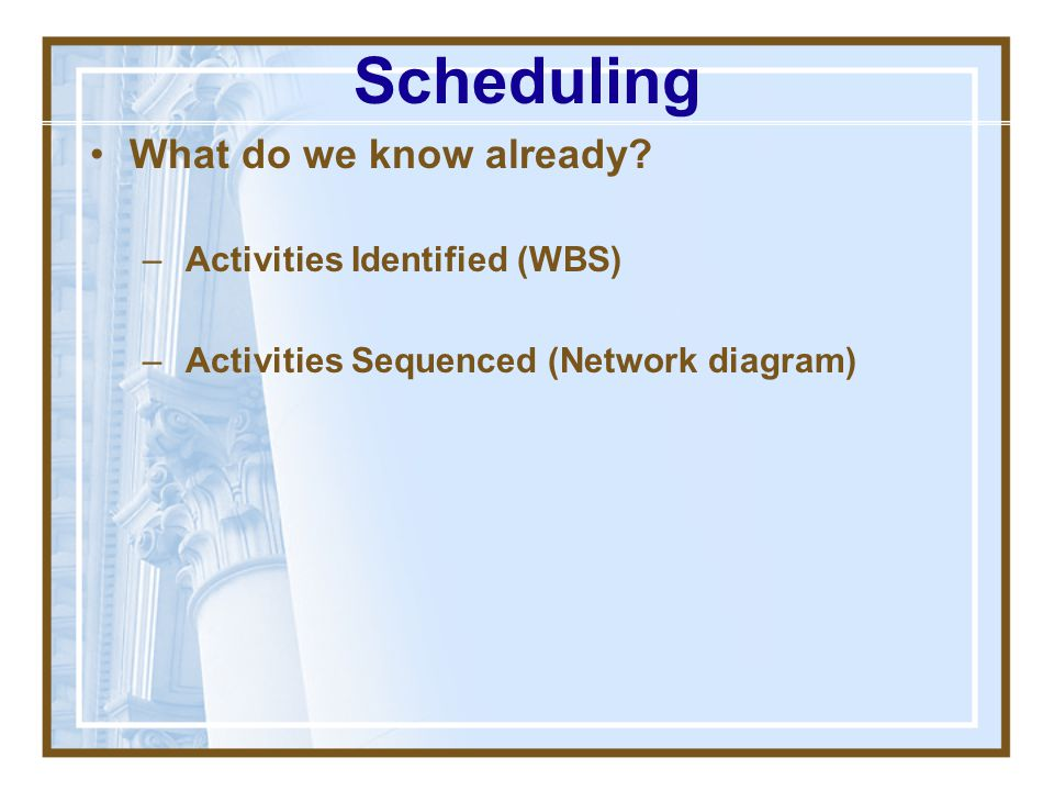How is scheduling done? –What do we know already? – What do we need to find out? – How should we go about getting that info? Scheduling