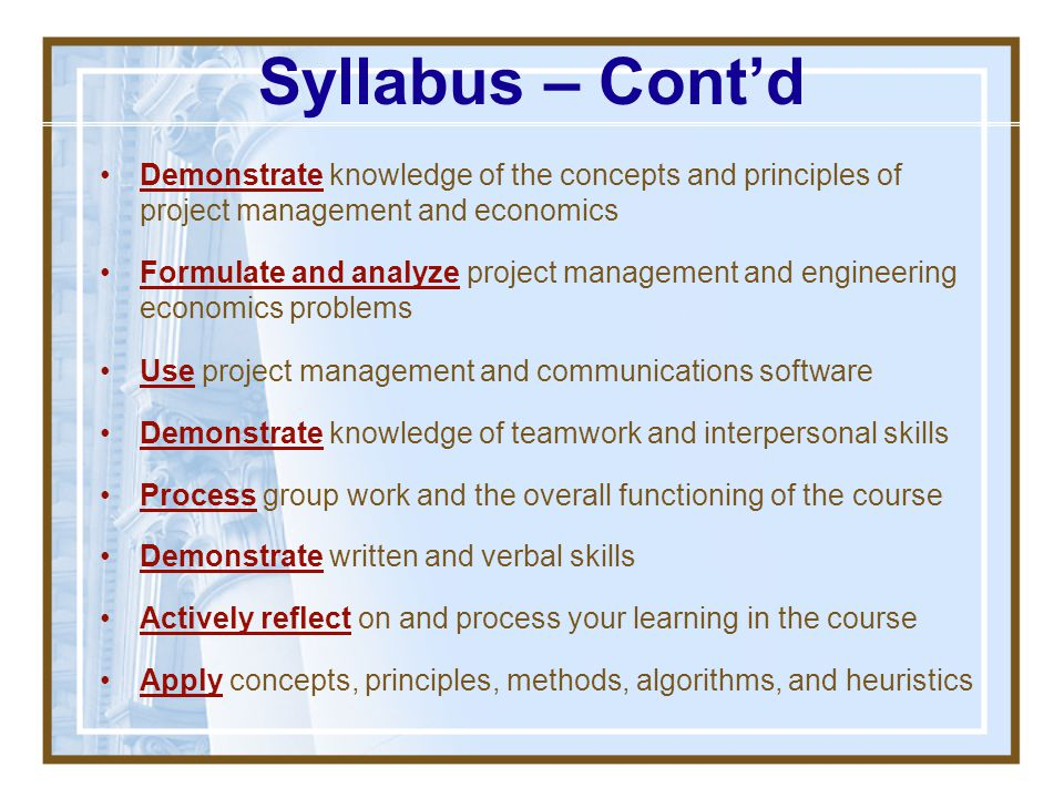 Syllabus Review - Slide Decks Available via WebCT You are responsible for printing if you want a printout All slides are posted already