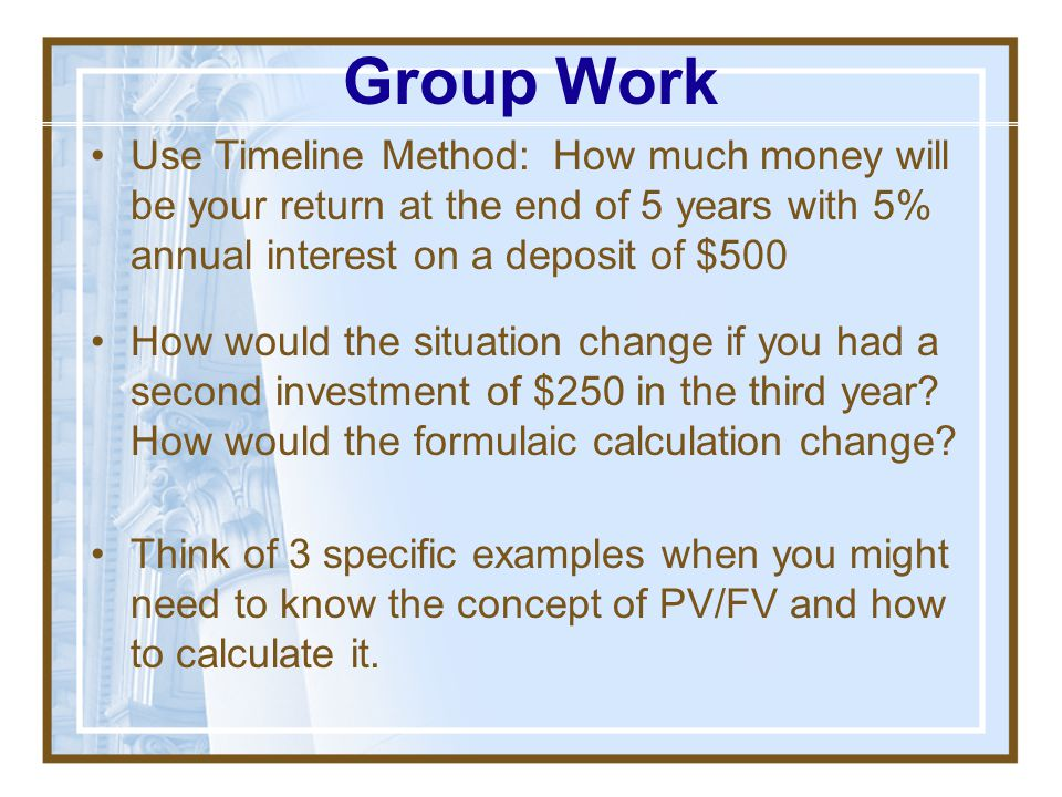Find PV of $1 today of FV dollars received n years in the future, assuming i%/year PV = FV x 1 FV (1+i) n (1+i) n = Present Value (PV)