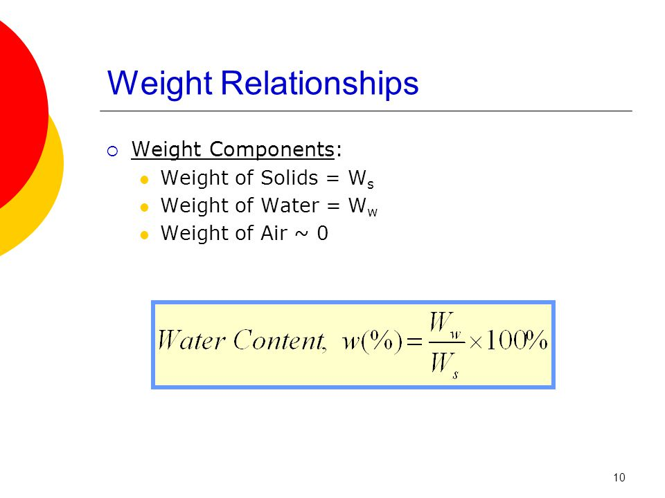 Weight Relationships  Weight Components: Weight of Solids = W s Weight of Water = W w Weight of Air ~ 0 10