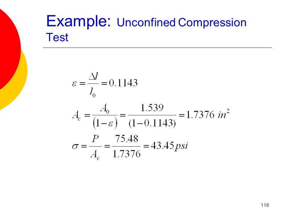 Example: Unconfined Compression Test 118