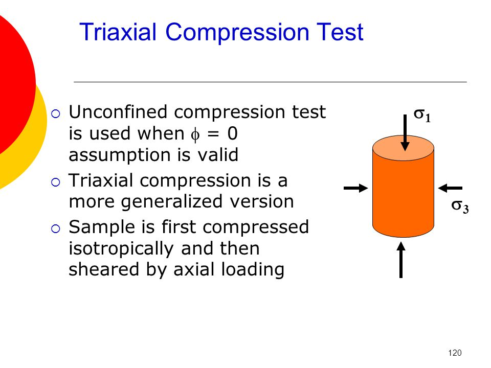 Triaxial Compression Test  Unconfined compression test is used when  = 0 assumption is valid  Triaxial compression is a more generalized version  Sample is first compressed isotropically and then sheared by axial loading 11 33 120