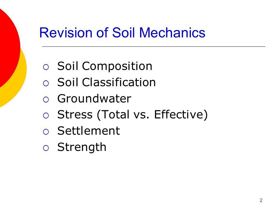Revision of Soil Mechanics  Soil Composition  Soil Classification  Groundwater  Stress (Total vs.