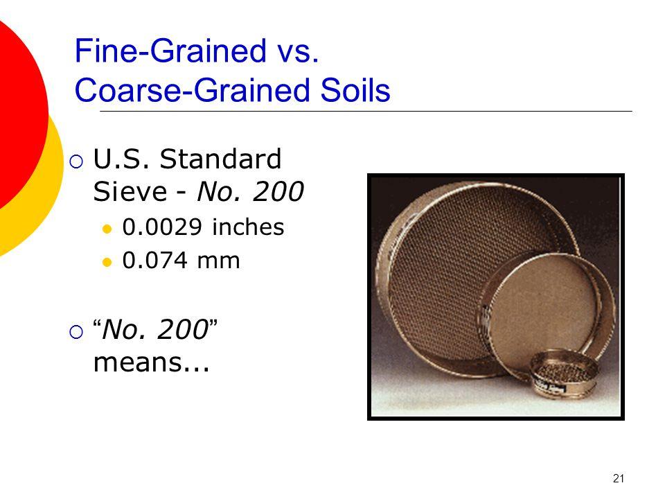 Fine-Grained vs.Coarse-Grained Soils  U.S. Standard Sieve - No.