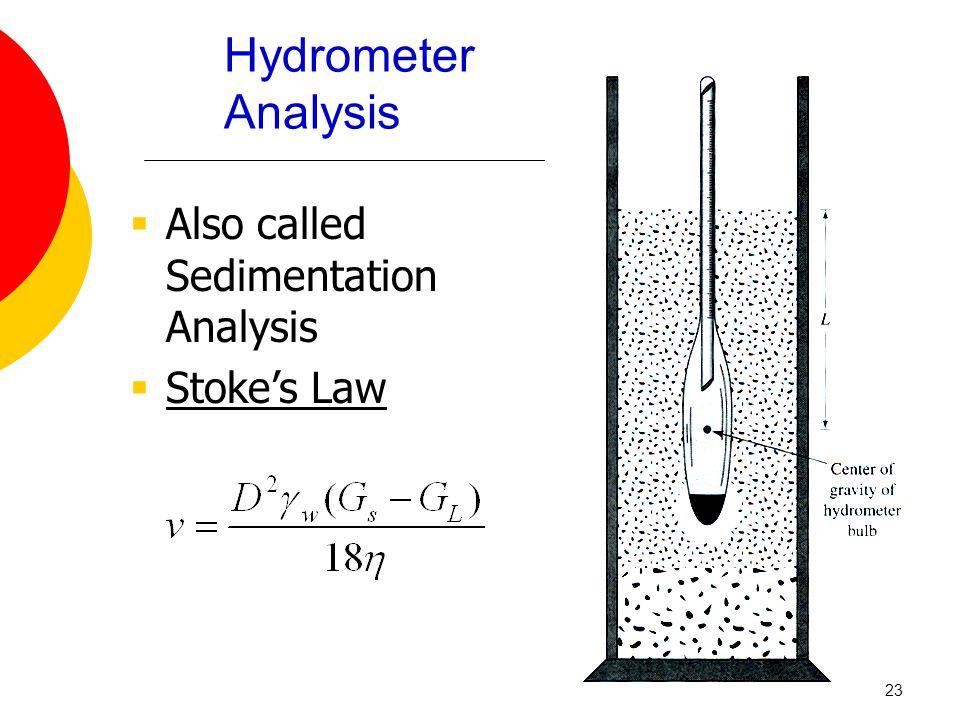 Hydrometer Analysis  Also called Sedimentation Analysis  Stoke's Law 23