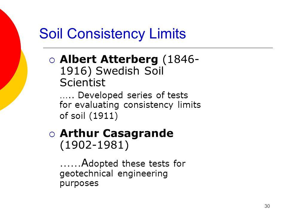 Soil Consistency Limits  Albert Atterberg (1846- 1916) Swedish Soil Scientist …..