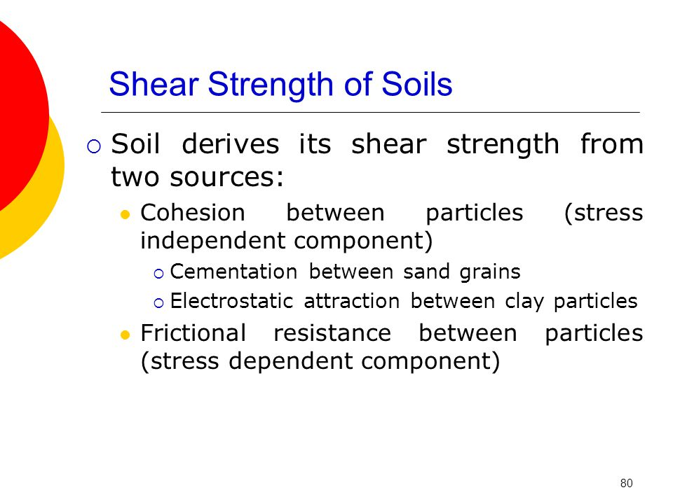Shear Strength of Soils  Soil derives its shear strength from two sources: Cohesion between particles (stress independent component)  Cementation between sand grains  Electrostatic attraction between clay particles Frictional resistance between particles (stress dependent component) 80