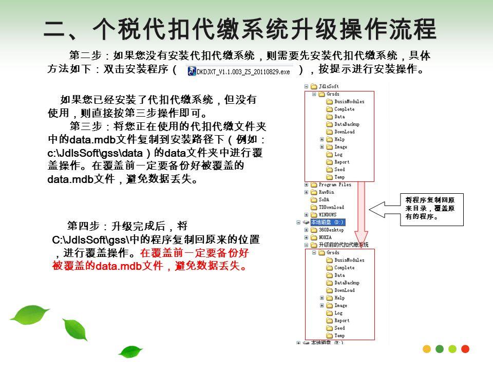二、个税代扣代缴系统升级操作流程 将程序复制回原 来目录,覆盖原 有的程序。 第四步:升级完成后,将 C:\JdlsSoft\gss\ 中的程序复制回原来的位置 ,进行覆盖操作。在覆盖前一定要备份好 被覆盖的 data.mdb 文件,避免数据丢失。 第二步:如果您没有安装代扣代缴系统,则需要先安装代扣代缴系统,具体 方法如下:双击安装程序( ),按提示进行安装操作。 如果您已经安装了代扣代缴系统,但没有 使用,则直接按第三步操作即可。 第三步:将您正在使用的代扣代缴文件夹 中的 data.mdb 文件复制到安装路径下(例如: c:\JdlsSoft\gss\data )的 data 文件夹中进行覆 盖操作。在覆盖前一定要备份好被覆盖的 data.mdb 文件,避免数据丢失。