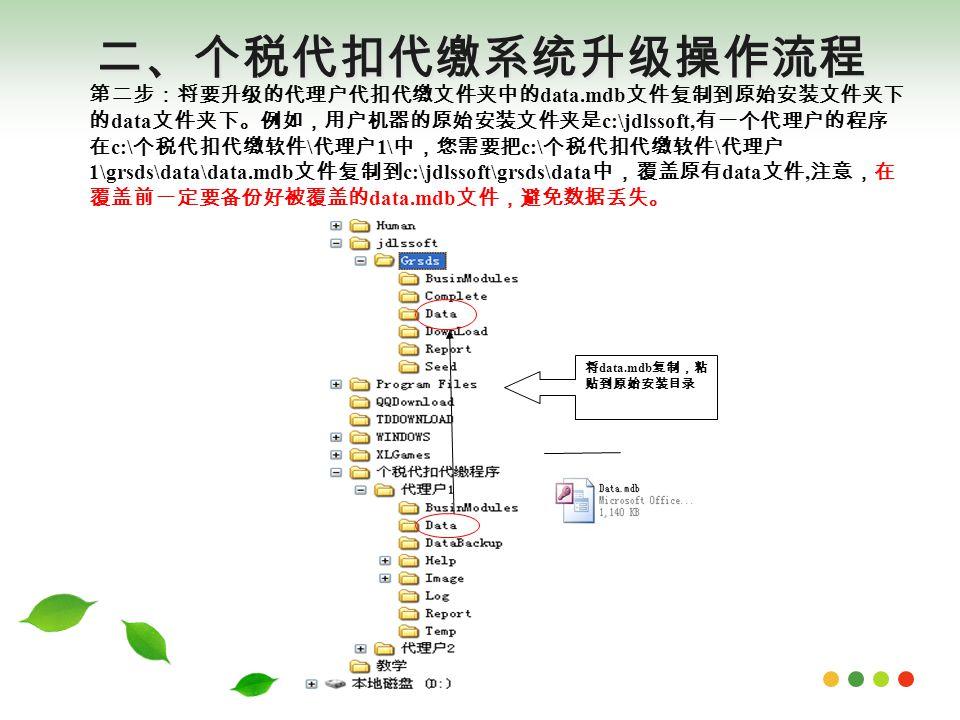 二、个税代扣代缴系统升级操作流程 将 data.mdb 复制,粘 贴到原始安装目录 第二步:将要升级的代理户代扣代缴文件夹中的 data.mdb 文件复制到原始安装文件夹下 的 data 文件夹下。例如,用户机器的原始安装文件夹是 c:\jdlssoft, 有一个代理户的程序 在 c:\ 个税代扣代