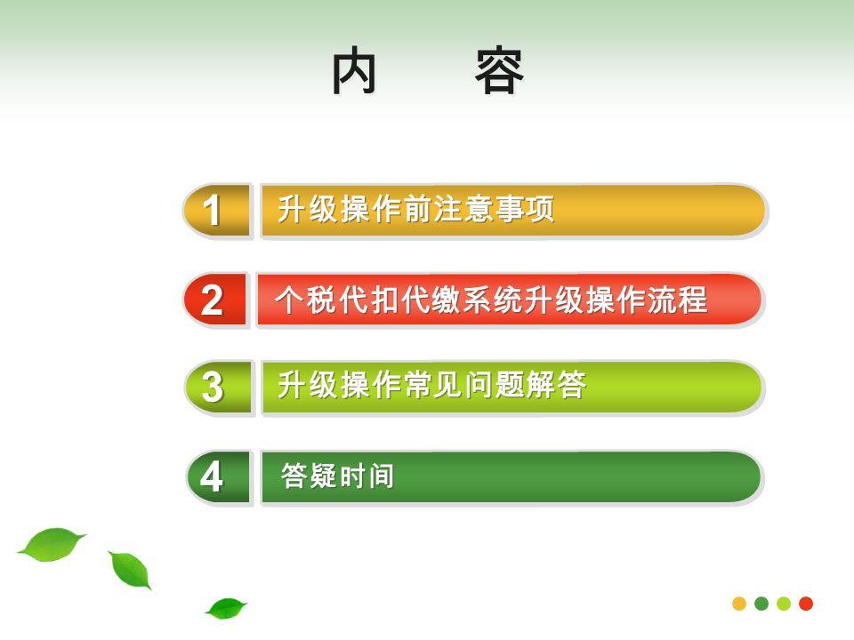 内 容 升级操作前注意事项 1 1 个税代扣代缴系统升级操作流程 2 2 升级操作常见问题解答 3 3 答疑时间 4 4