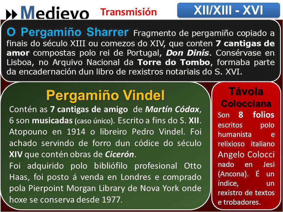 Pergamiños  M edievo XII/XIII - XVI Transmisión Pergamiño Vindel Contén as 7 cantigas de amigo de Martín Códax, 6 son musicadas (caso único).