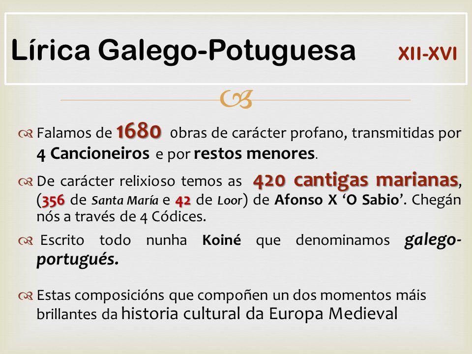  1680  Falamos de 1680 0bras de carácter profano, transmitidas por 4 Cancioneiros e por restos menores.