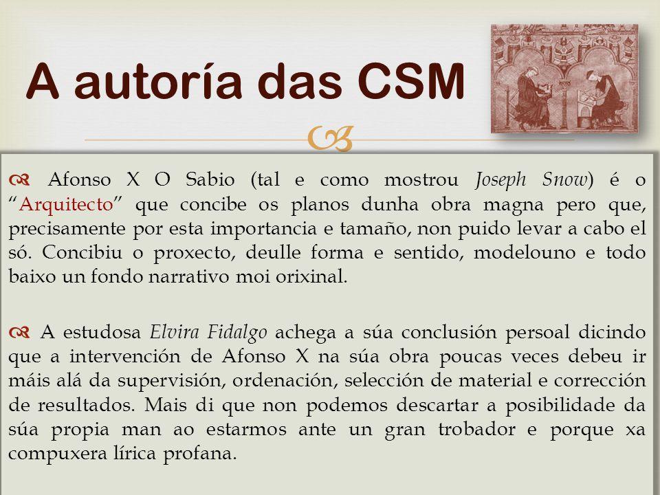   Hoxe despois de tantos estudos realizados está superada a opinión de que Afonso X fose o único autor das cantigas.