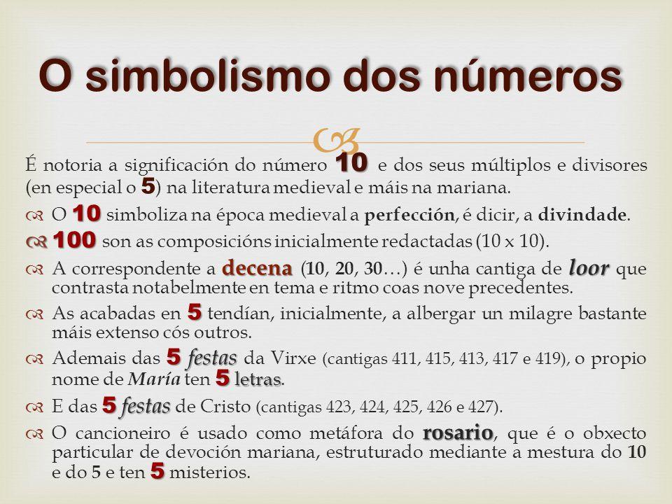 10 É notoria a significación do número 10 e dos seus múltiplos e divisores (en especial o 5 ) na literatura medieval e máis na mariana.