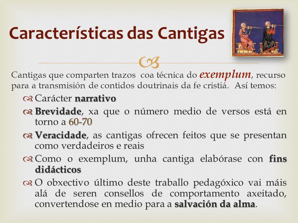  Cantigas que comparten trazos coa técnica do exemplum, recurso para a transmisión de contidos doutrinais da fe cristiá.