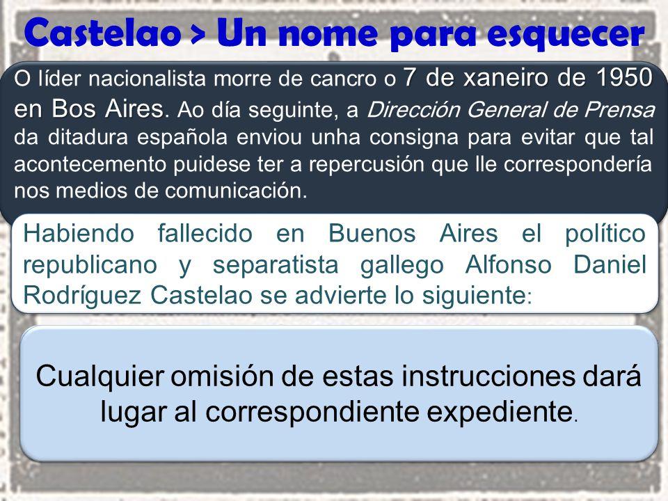 Castelao > Un nome para esquecer 7 de xaneiro de 1950 en Bos Aires O líder nacionalista morre de cancro o 7 de xaneiro de 1950 en Bos Aires.