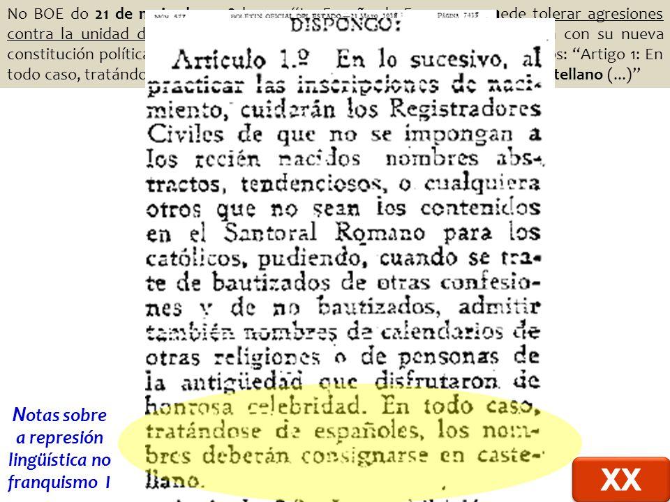 No BOE do 21 de maio de 1938 lemos La España de Franco no puede tolerar agresiones contra la unidad de su idioma, ni la intromisión de nombres que pugnan con su nueva constitución política (...) .