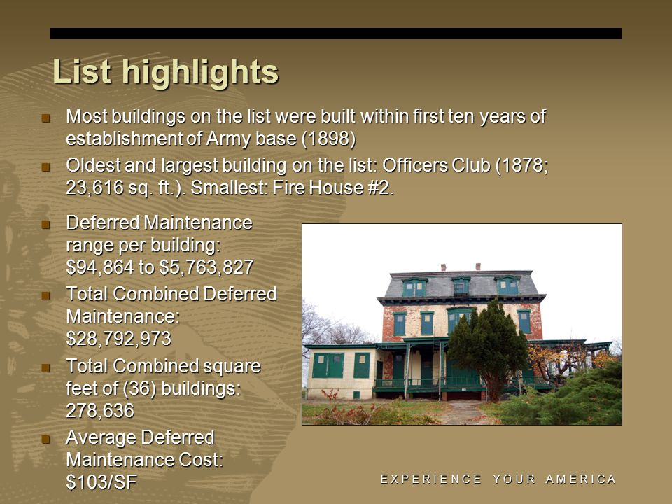 List highlights Most buildings on the list were built within first ten years of establishment of Army base (1898) Most buildings on the list were built within first ten years of establishment of Army base (1898) Oldest and largest building on the list: Officers Club (1878; 23,616 sq.