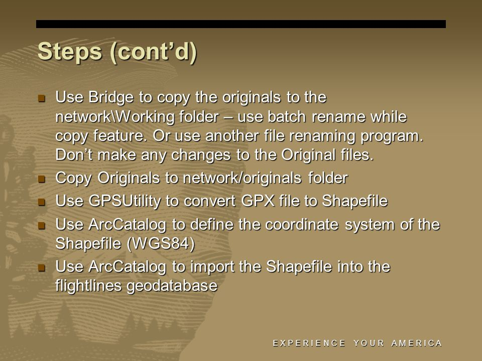 Steps (cont'd) Use Bridge to copy the originals to the network\Working folder – use batch rename while copy feature.