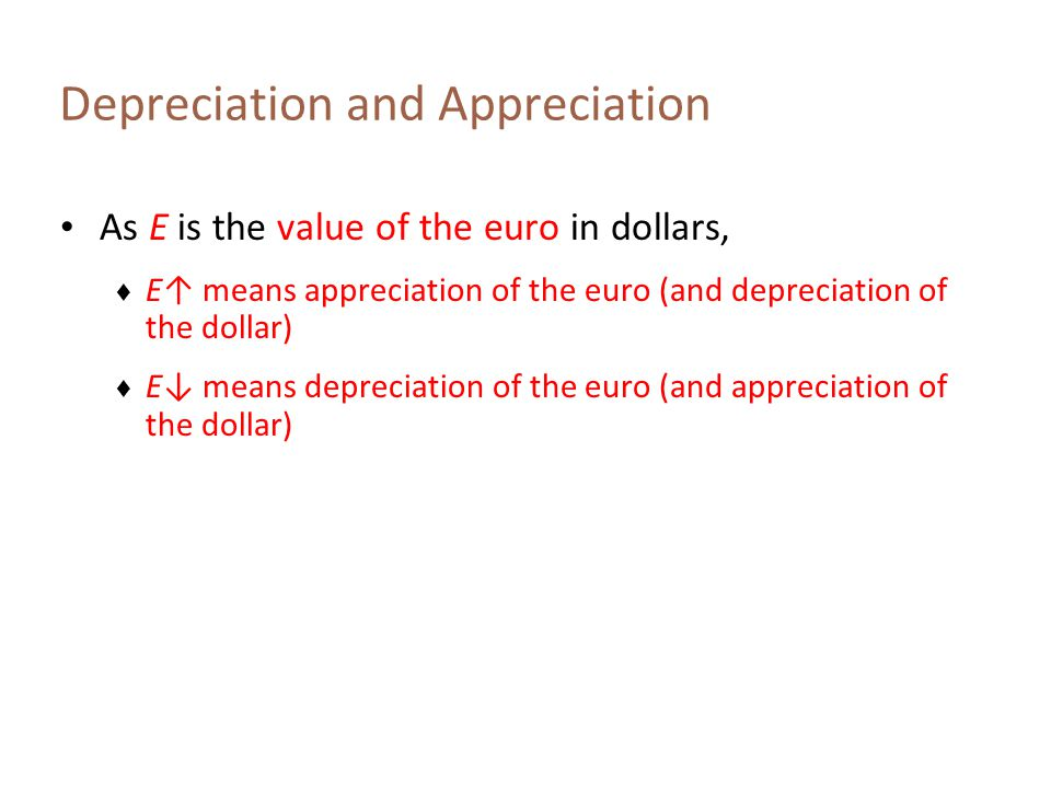 Depreciation and Appreciation: Example Suppose the foreign currency is the Japanese yen Then E is the dollar value of the yen Suppose E increases from $0.0098 to $ 0.0100.