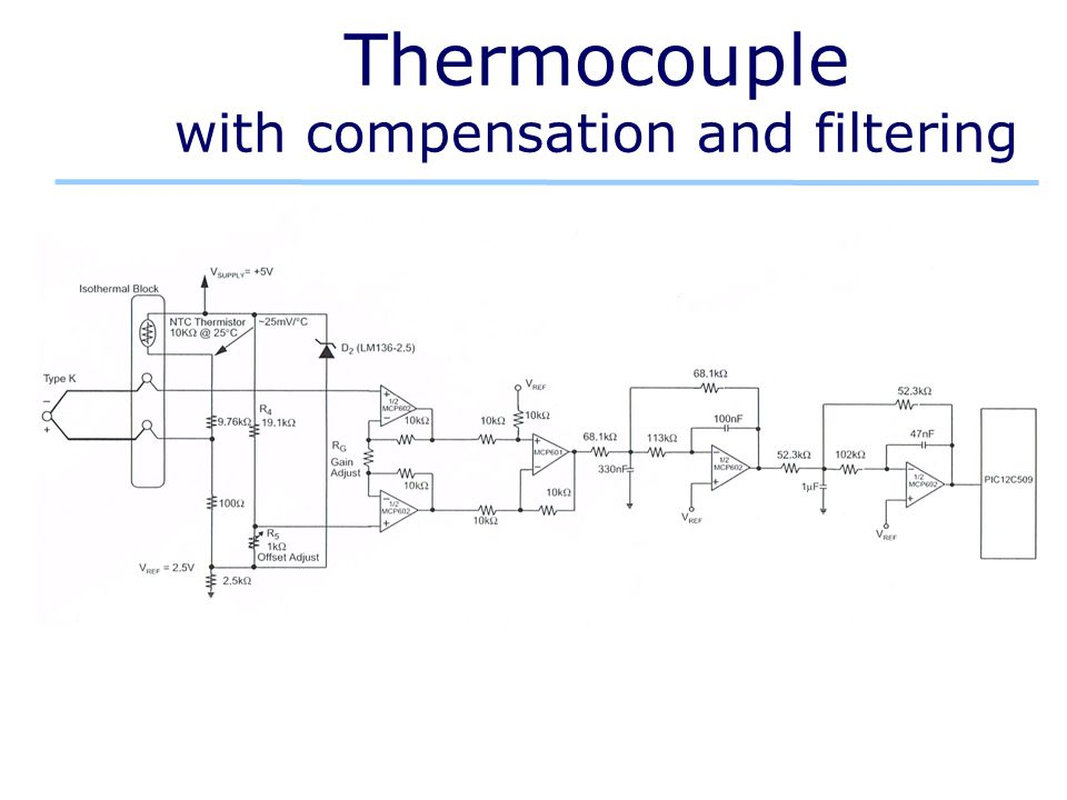 Thermocouple with compensation and filtering