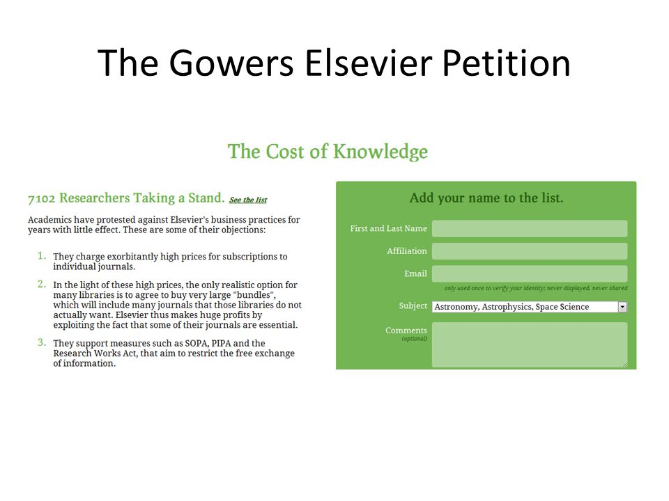 The Gowers Elsevier Petition