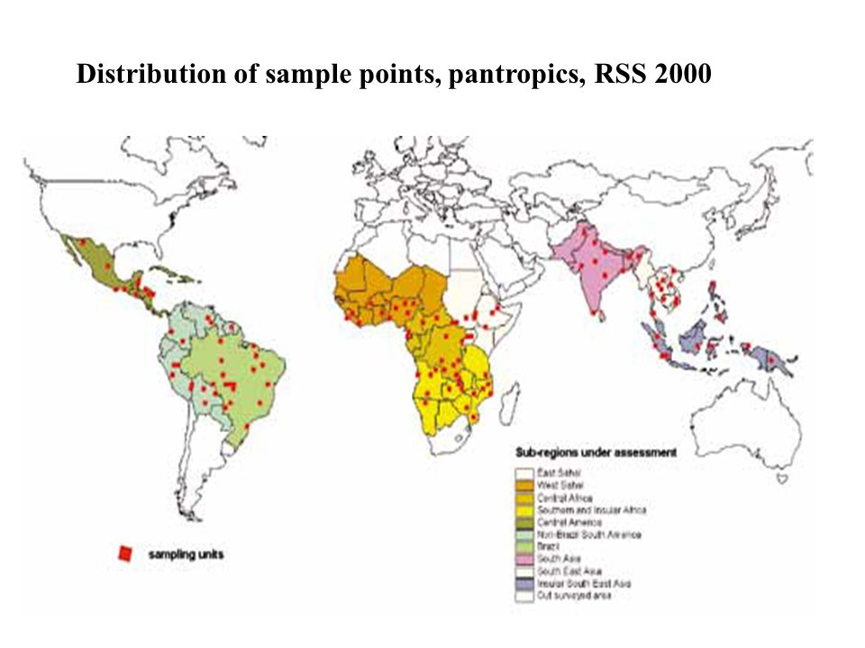 Distribution of sample points, pantropics, RSS 2000