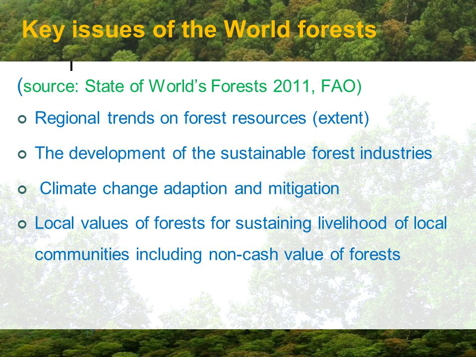 Key issues of the World forests ( source: State of World's Forests 2011, FAO) Regional trends on forest resources (extent) The development of the sust