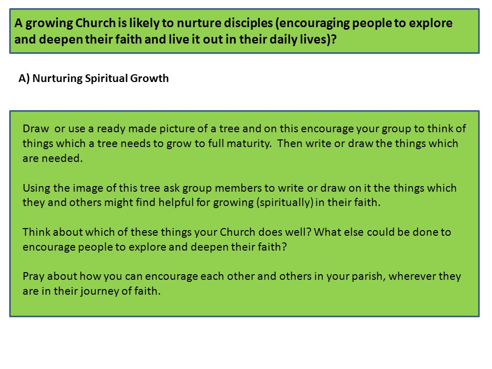 A growing Church is likely to nurture disciples (encouraging people to explore and deepen their faith and live it out in their daily lives).