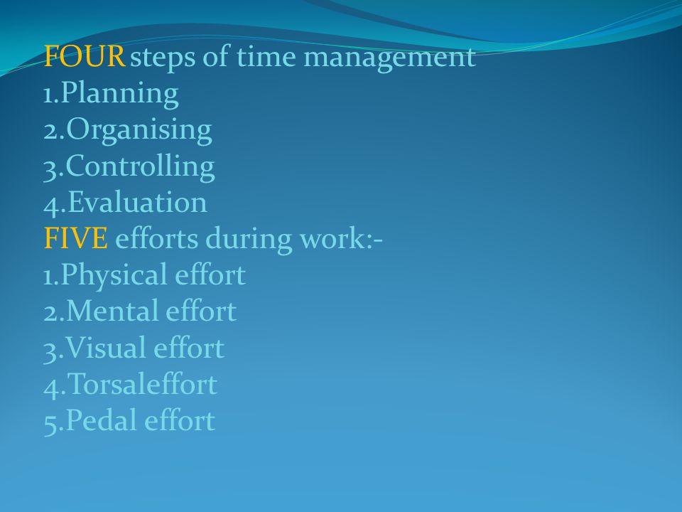 FOUR steps of time management 1.Planning 2.Organising 3.Controlling 4.Evaluation FIVE efforts during work:- 1.Physical effort 2.Mental effort 3.Visual effort 4.Torsaleffort 5.Pedal effort