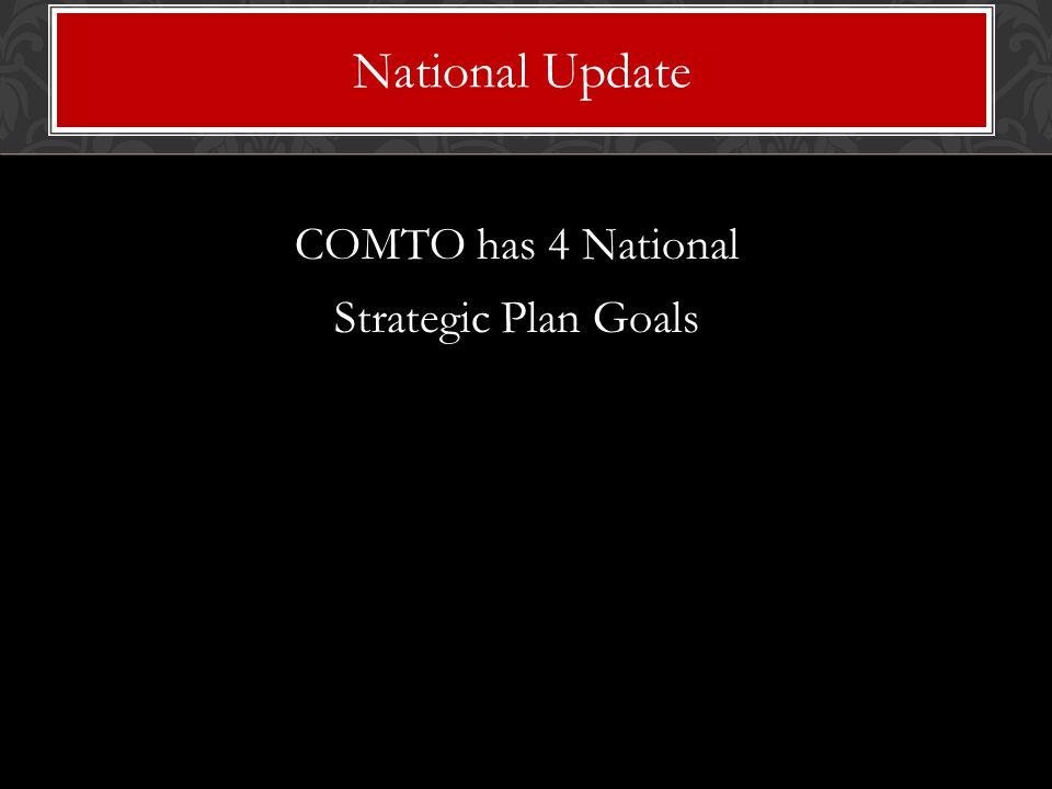COMTO has 4 National Strategic Plan Goals National Update