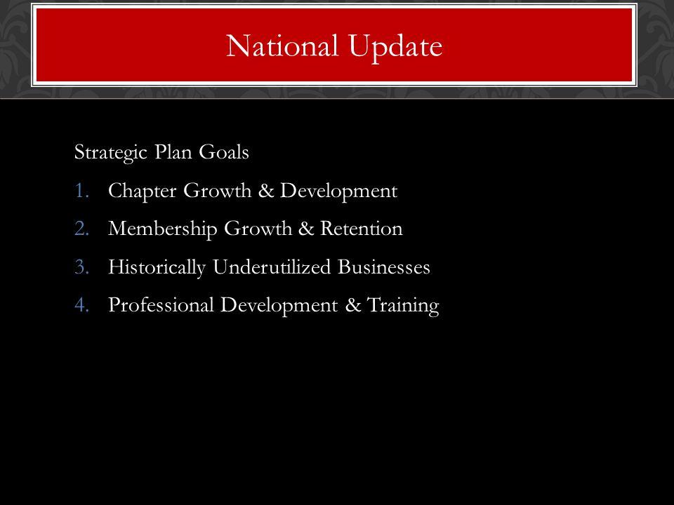Strategic Plan Goals 1.Chapter Growth & Development 2.Membership Growth & Retention 3.Historically Underutilized Businesses 4.Professional Development & Training National Update