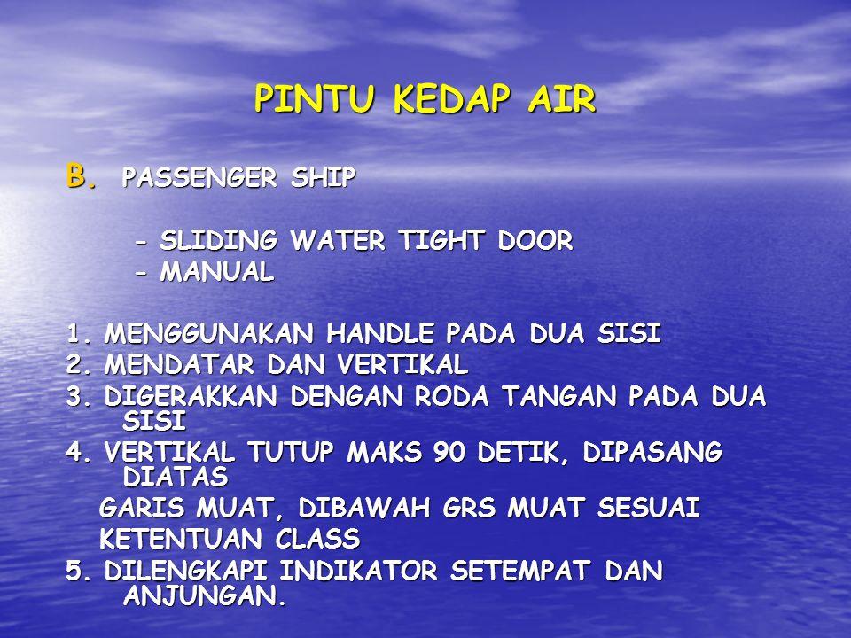PINTU KEDAP AIR B. P ASSENGER SHIP - SLIDING WATER TIGHT DOOR - MANUAL 1. MENGGUNAKAN HANDLE PADA DUA SISI 2. MENDATAR DAN VERTIKAL 3. DIGERAKKAN DENG