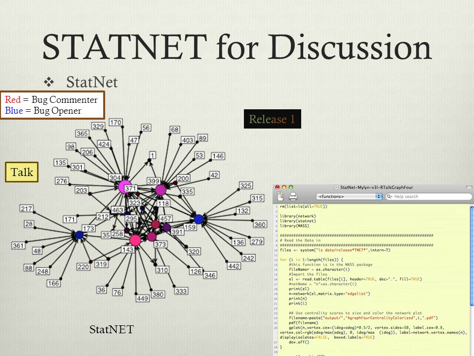 STATNET for Discussion  StatNet Red = Bug Commenter Blue = Bug Opener StatNET Talk