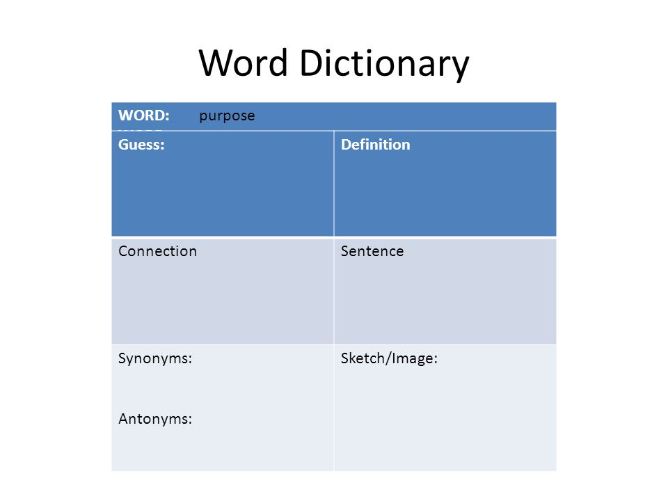 Word Dictionary WORD: Guess:Definition ConnectionSentence Synonyms: Antonyms: Sketch/Image: purpose