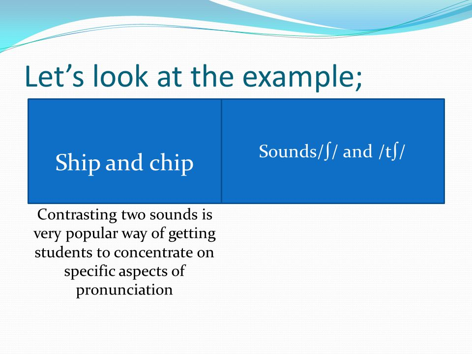 Let's look at the example; Ship and chip Contrasting two sounds is very popular way of getting students to concentrate on specific aspects of pronunciation Sounds/∫/ and /t∫/
