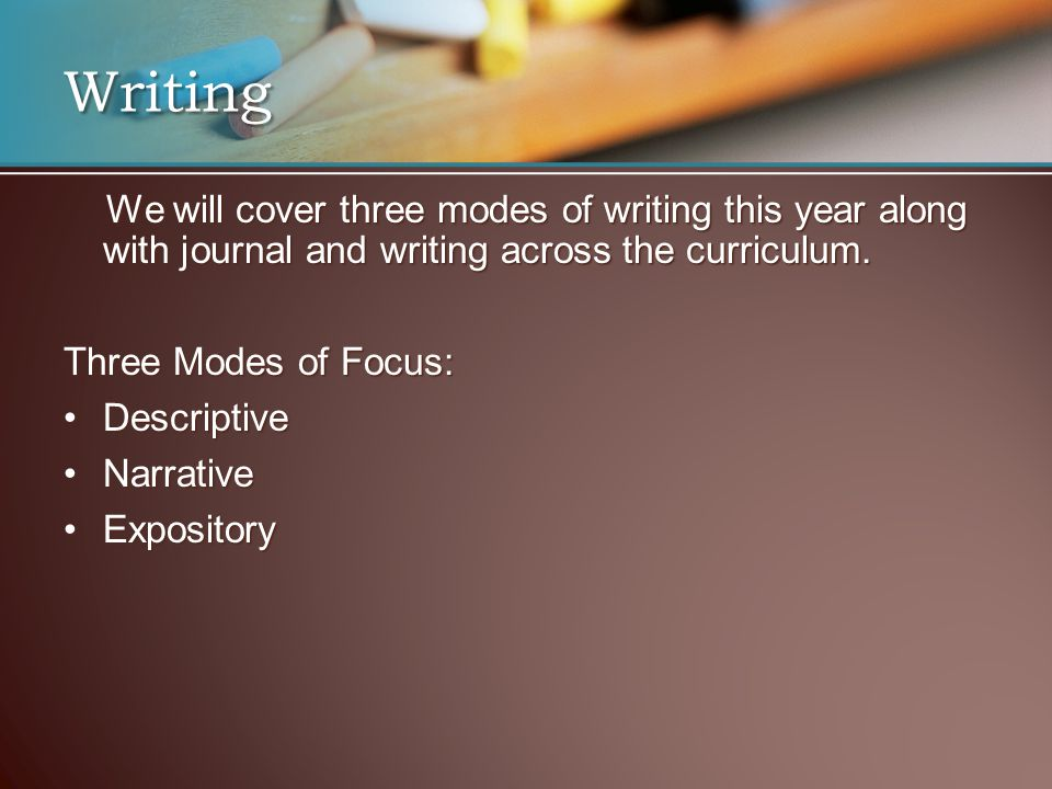 Writing We will cover three modes of writing this year along with journal and writing across the curriculum. We will cover three modes of writing this