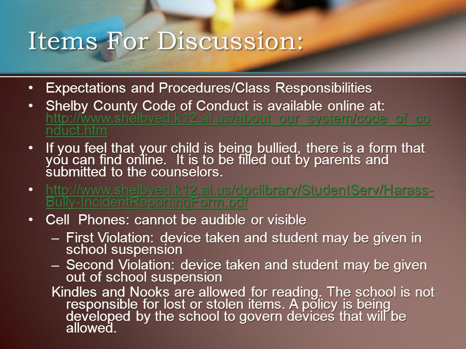 Expectations and Procedures/Class ResponsibilitiesExpectations and Procedures/Class Responsibilities Shelby County Code of Conduct is available online