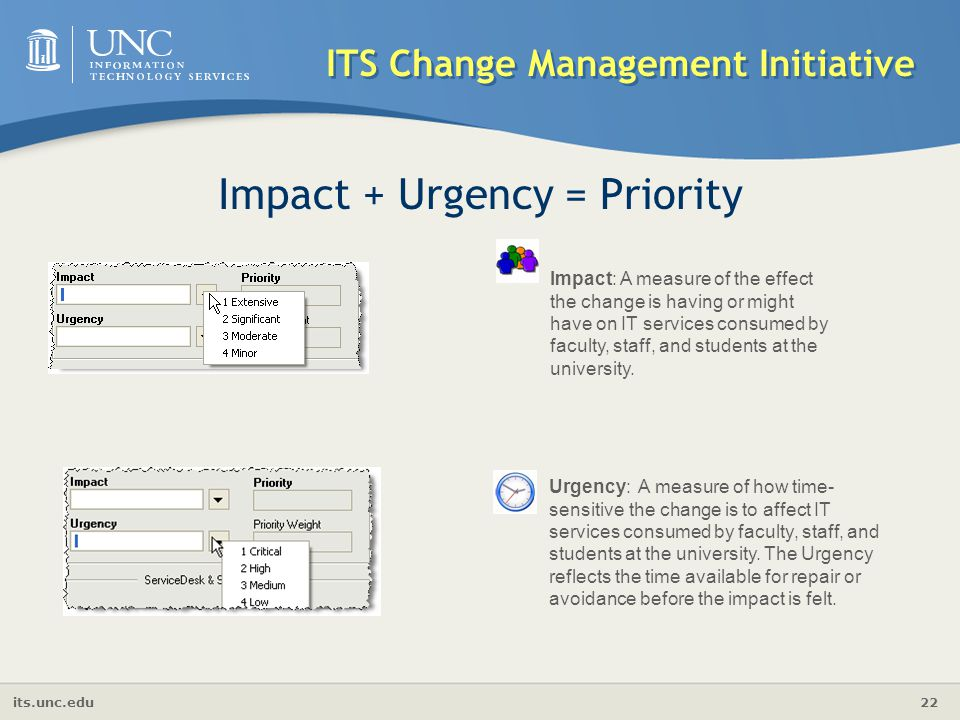 its.unc.edu 22 ITS Change Management Initiative Impact + Urgency = Priority Urgency: A measure of how time- sensitive the change is to affect IT servi
