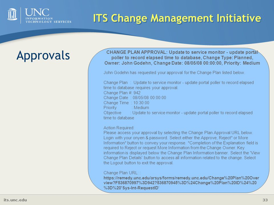 its.unc.edu 33 ITS Change Management Initiative Approvals John Godehn has requested your approval for the Change Plan listed below. Change Plan : Upda