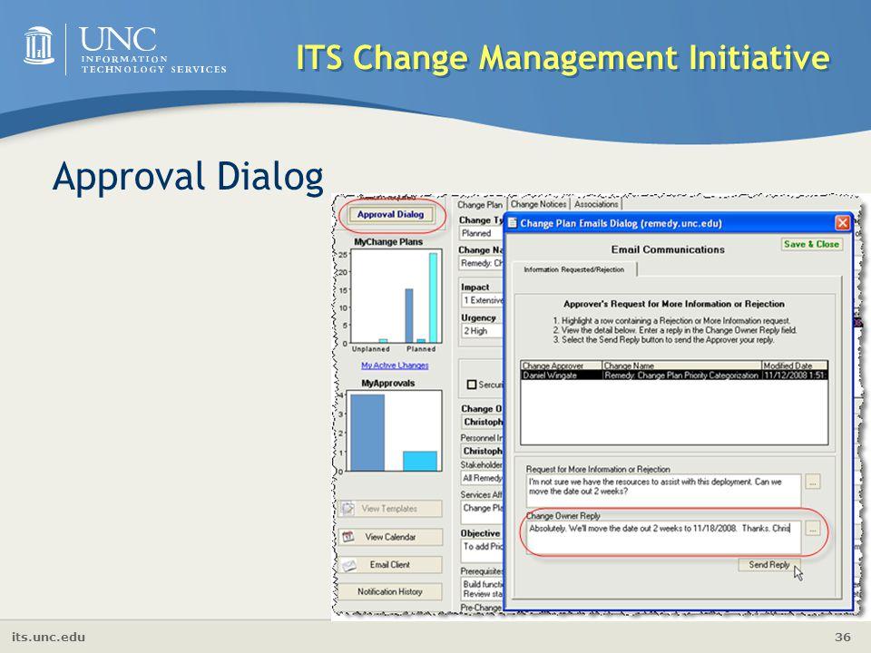 its.unc.edu 36 ITS Change Management Initiative Approval Dialog