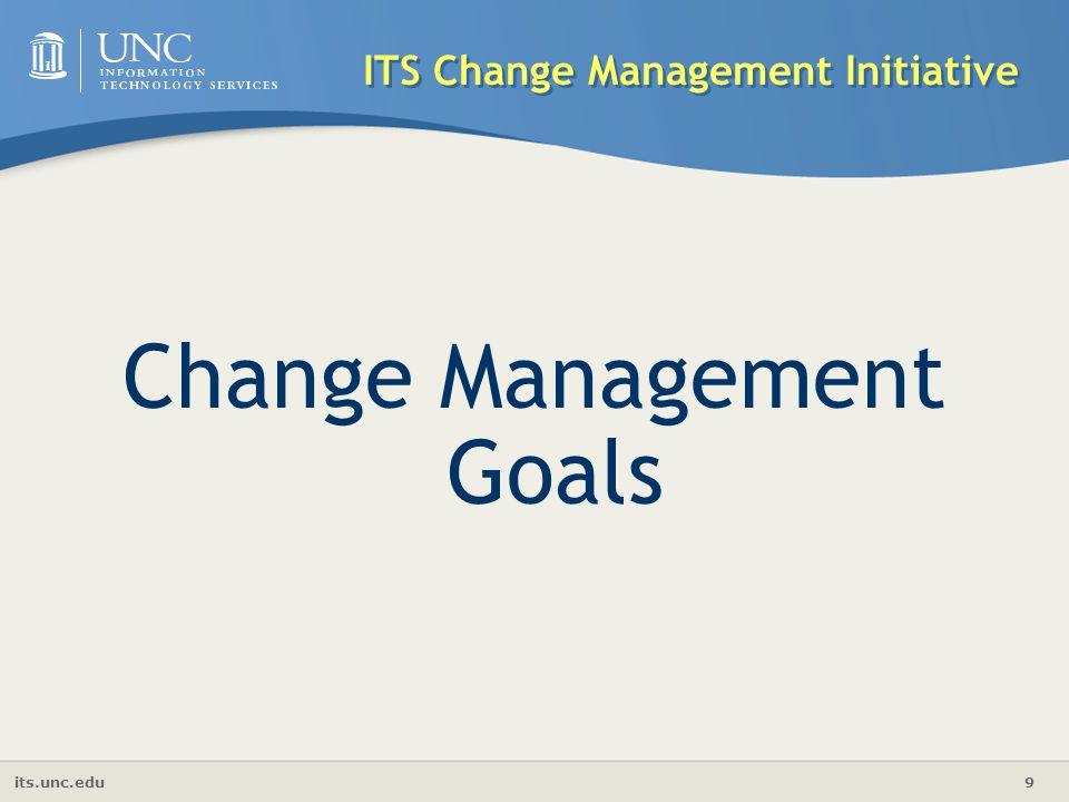 its.unc.edu 9 ITS Change Management Initiative Change Management Goals