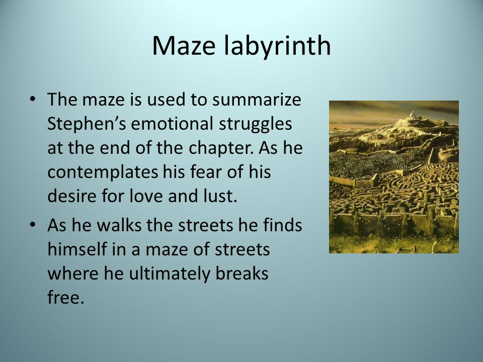Maze labyrinth The maze is used to summarize Stephen's emotional struggles at the end of the chapter.