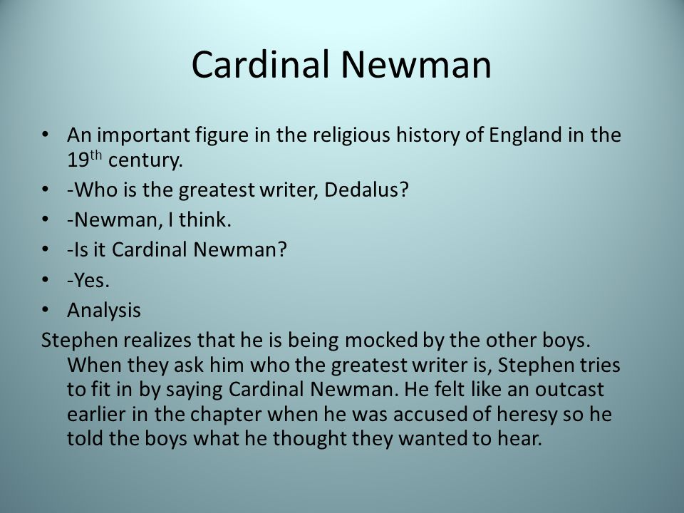 Cardinal Newman An important figure in the religious history of England in the 19 th century.